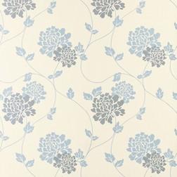 Бумажные обои в крупные цветы хризантемы голубого цвета ISODORE (Seaspray)