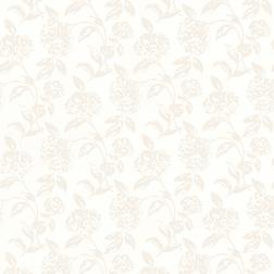 Бумажные обои белого цвета в силуэты цветов гортензии HESTA (White)