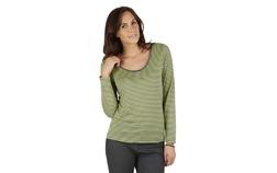 Зеленая футболка с длинным рукавом в тонкую горизонтальную полоску TS 236