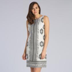 Льняное платье прямого кроя с зауженной талией и штамповым принтом MD 246