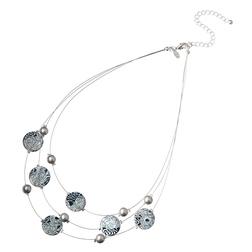 Тройное ожерелье на тонком проводе с крупными элементами круглой формы JW 305