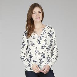Легкая блузка кремового цвета с V-образным вырезом и растительным принтом BL 959