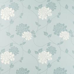 Обои в крупные цветы хризантемы белого и голубого цвета ISODORE (Duck Egg/White)