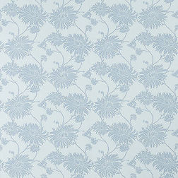 Обои нежно-голубого цвета с рисунком хризантем KIMONO (Seaspray)