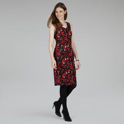 Платье черного цвета с текстурой поверхностью и цветочным принтом MD 438