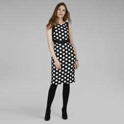 Приталенное платье черного цвета без рукава с принтом в горох MD 497