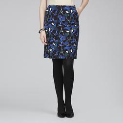 А-образная юбка в темно-синих тонах с цветочным принтом MS 395