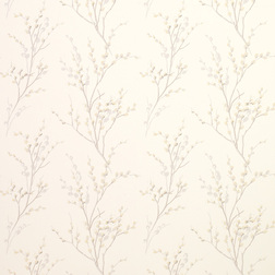 Бумажные обои с рисунком весенней вербы  PUSSY WILLOW (Off White/Dove Grey)