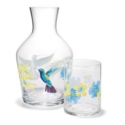 Графин и стакан с рисунком колибри ORCHID CARAFE & TUMBLER Ø11, 6,5*8,5 (Clear)