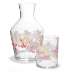 Стеклянный графин со стаканом украшенные цветами GOSFORD CARAFE & TUMBLER 17,5*10,5, 8,5*6,5 (Clear)
