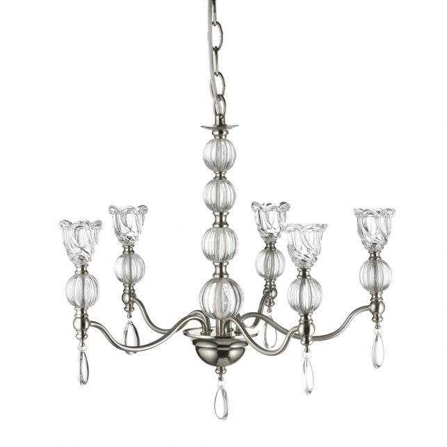 Люстра из металла и стекла на 5 лампочек MAJESTY 5 LIGHT (Clear)