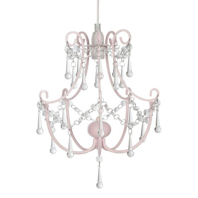 Потолочная люстра розового цвета со стеклянны подвесками ROSIE EASY-FIT (Pink)