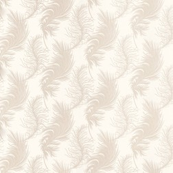 Красивые бумажные обои в бежевые перья PLUME (White)