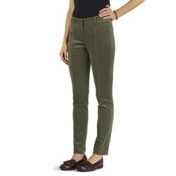 Вельветовые штаны слимы зеленого цвета из хлопка TR 901