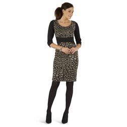 Платье черного цвета с леопардовым принтом MD 997
