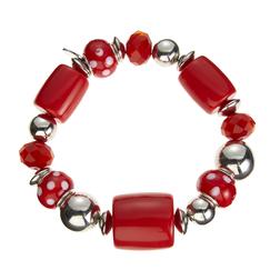 Эластичный браслет с бусинами красного и серебристого цветов JW 401