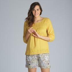 Свободная легкая блузка желтого цвета с ажурными вставками BL 805