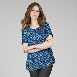 Легкая блузка в синих тонах с коротким рукавом из микса шелка и вискозы BL 962
