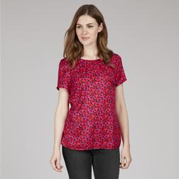 Легкая блузка красного цвета с коротким рукавом из микса шелка и вискозы BL 962