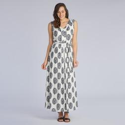 Легкое длинное платье кремового цвета со штампованным принтом MD 193