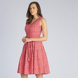 Легкое платье из хлопка кораллового цвета с растительным принтом и поясом MD 249