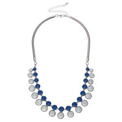 Ожерелье с декоративными элементами в синих тонах на цепочке со сложным плетением JW 460