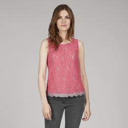 Двуслойная блузка без рукава в серо-розовой цветовой гамме BL 152