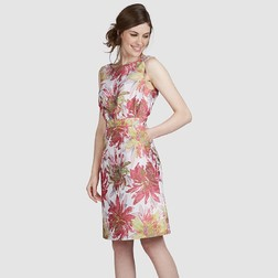 Приталенное платье отрезное по талии с принтом цветов хризантемы MD 469