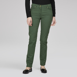 Стрейчевые джинсы слимы из хлопка зеленого цвета TR 110