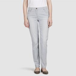 Стрейчевые джинсы кремового цвета из хлопка в вертикальную полоску голубого цвета TR 135