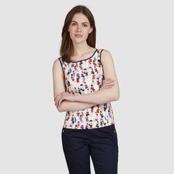 Легкая блузка без рукава с оригинальным пляжным принтом BL 946
