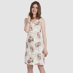 Льняное платье кремового цвета с крупным цветочным принтом MD 274