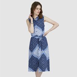 Длинное платье из вискозы без рукава в летних оттенках синего цвета MD 477