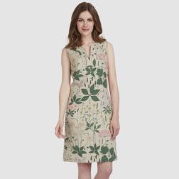 Льняное приталенное платье бежевого цвета с цветочным принтом MD 478