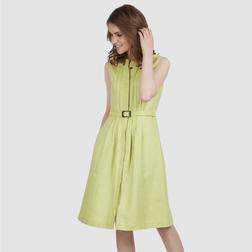 Льняное платье светло-зеленого цвета без рукава со сборками и поясом MD 480