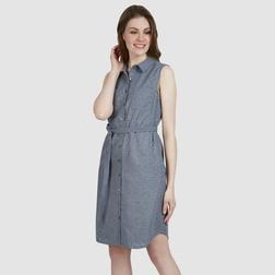 Платье из хлопка бледно-синего цвета с цветочным шитьем и перфорацией MD 501