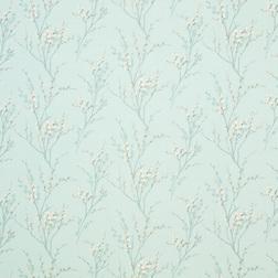 Ткань для штор нежно-голубого цвета с силуэтами весенней вербы PUSSY WILLOW (Duck Egg)