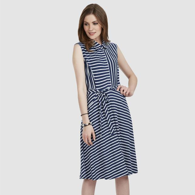 068f6ad6337 Платье без рукава с блузочным воротом в вертикальную и горизонтальную  полоску MD 455