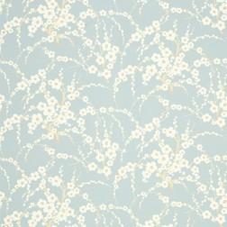 Бумажные обои голубого цвета с цветочным рисунком в восточном стиле LORI (Duck Egg)