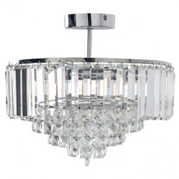 Люстра серебристого цвета с стеклянными подвесками VIENNA CRYSTAL regular 30*32 (Clear)
