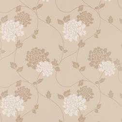 Тонкие бумажные обои в цветы хризантемы трюфельного цвета ISODORE (Truffle)