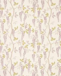 Бумажные обои в цветы глицинии фиолетового цвета AVEBURY (Amethyst)