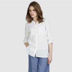 Белоснежная длинная блузка с двумя карманами BL 815