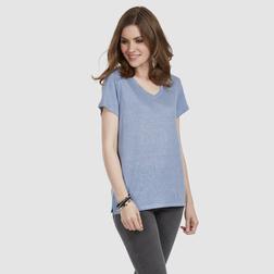 Льняная футболка голубого цвета с V-образным вырезом TS 704