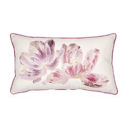 Длинная подушка с вышивкой цветов GOSFORD EMB 30*50 (Cyclamen)