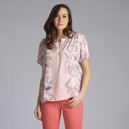 Блузка светло-розового цвета с коротким рукавом и принтом по бокам BL 820