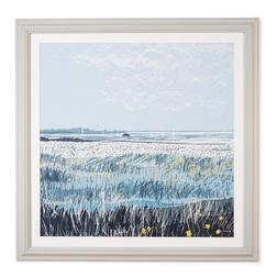 Квадратная картина с морским пейзажем в голубой гамме WATER MEADOW FRAMED PRINT 74*74 (Multi)