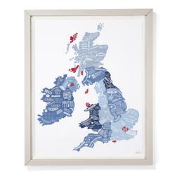 Картина с изображением кулинарной карты Англии BRITISH FOOD MAP IN FRAME 76*62 (Blue)