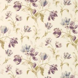 Бумажные обои в крупные цветы тюльпана фиолетового цвета GOSFORD MEADOW (Plum)
