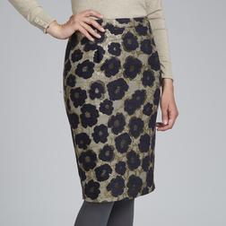 Жаккардовая юбка-карандаш золотистого цвета с цветочным узором темно-синего цвета MS 389